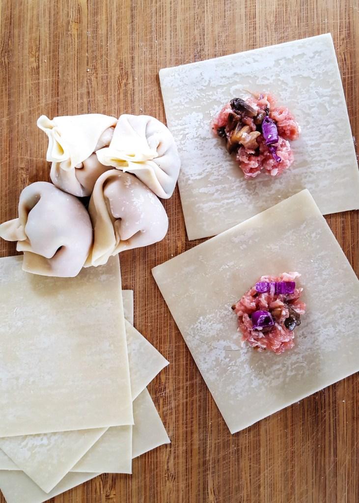 Simple Pork & Mushroom Dumplings being prepared and folded into shapes.
