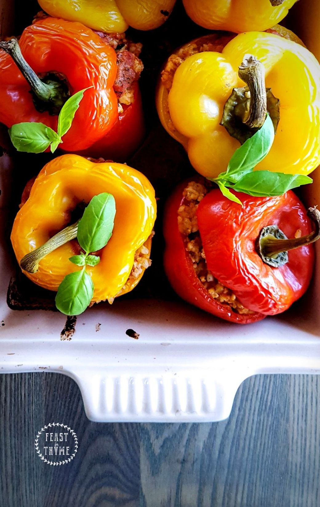Easy Stuffed Peppers with Creamy Tomato Sauce [Low-FODMAP & Gluten-Free]