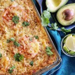 Indulge in a satisfying, guilt-free dinner with this #easyrecipe for delicious Cheesy Spaghetti Squash Taco Casserole that you can make any night of the week. #lightenedup #hotdish #casserole #taco | FeastInThyme.com