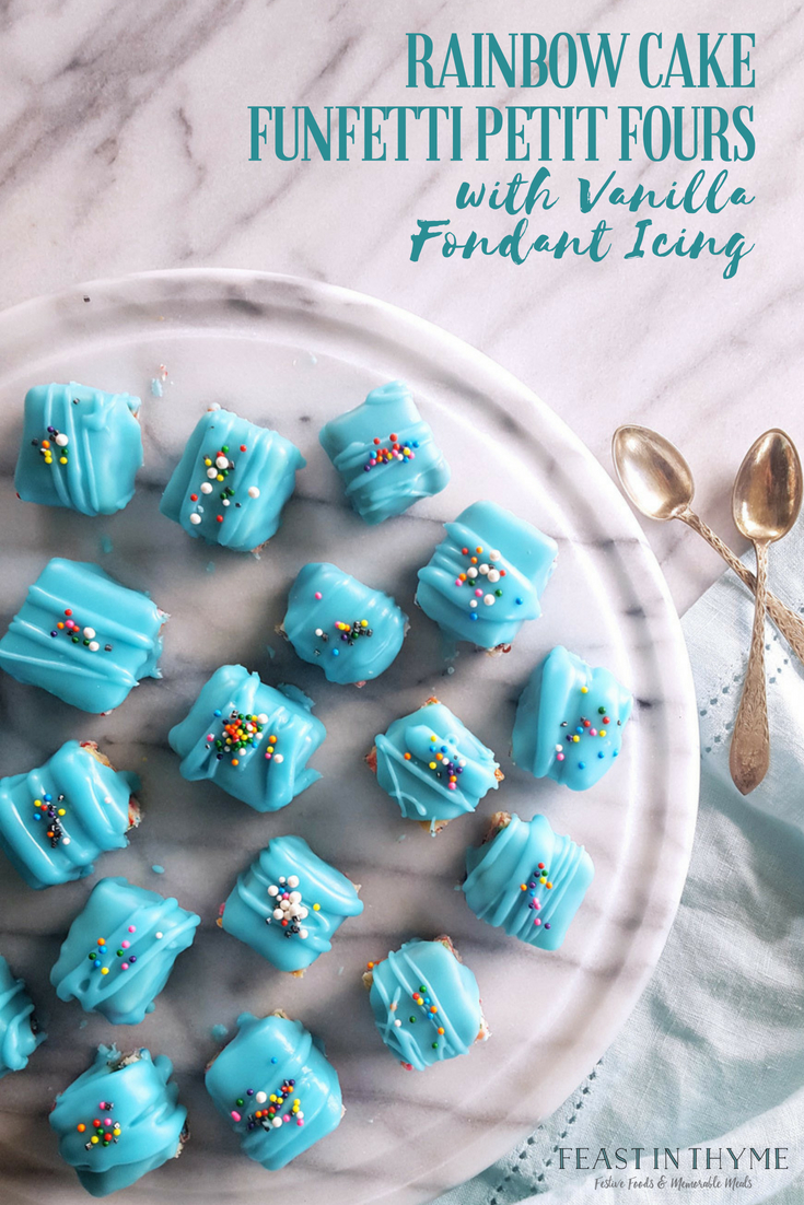 With two layers of #rainbow cake, a bright fondant icing, and oodles of colorful #sprinkles, these bite-size Funfetti Petit Fours are ready to celebrate! #celebration #cake #funfetti  | FeastInThyme.com