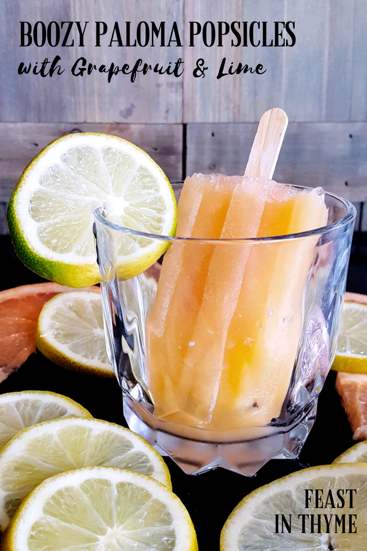Paloma Popsicles are a chillingly refreshing way to beat the heat this #summer! This #frozen twist on the classic tequila #cocktail is tart, sweet, and just the right amount of #boozy.  #palomacocktail #popsicle #tequila | FeastInThyme.com