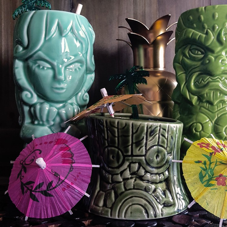 No Home Tiki Bar is complete without some of these bright & beautiful tropical touches. | FeastInThyme.com