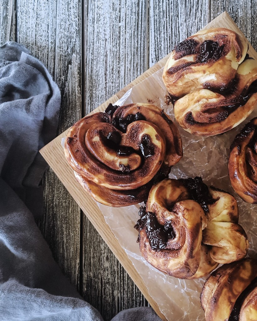 A tray of Cherry Chocolate Babka Pull Apart Muffins