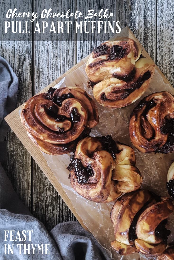 Cherry Chocolate Babka Pull Apart Muffins