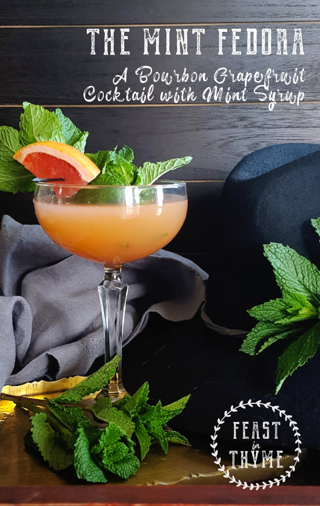 With just a little homemade mint syrup and warm tropical bitters, this bourbon grapefruit cocktail is a playful variation on the classic Brown Derby. #cocktail #bourbon #grapefruit | FeastInThyme.com