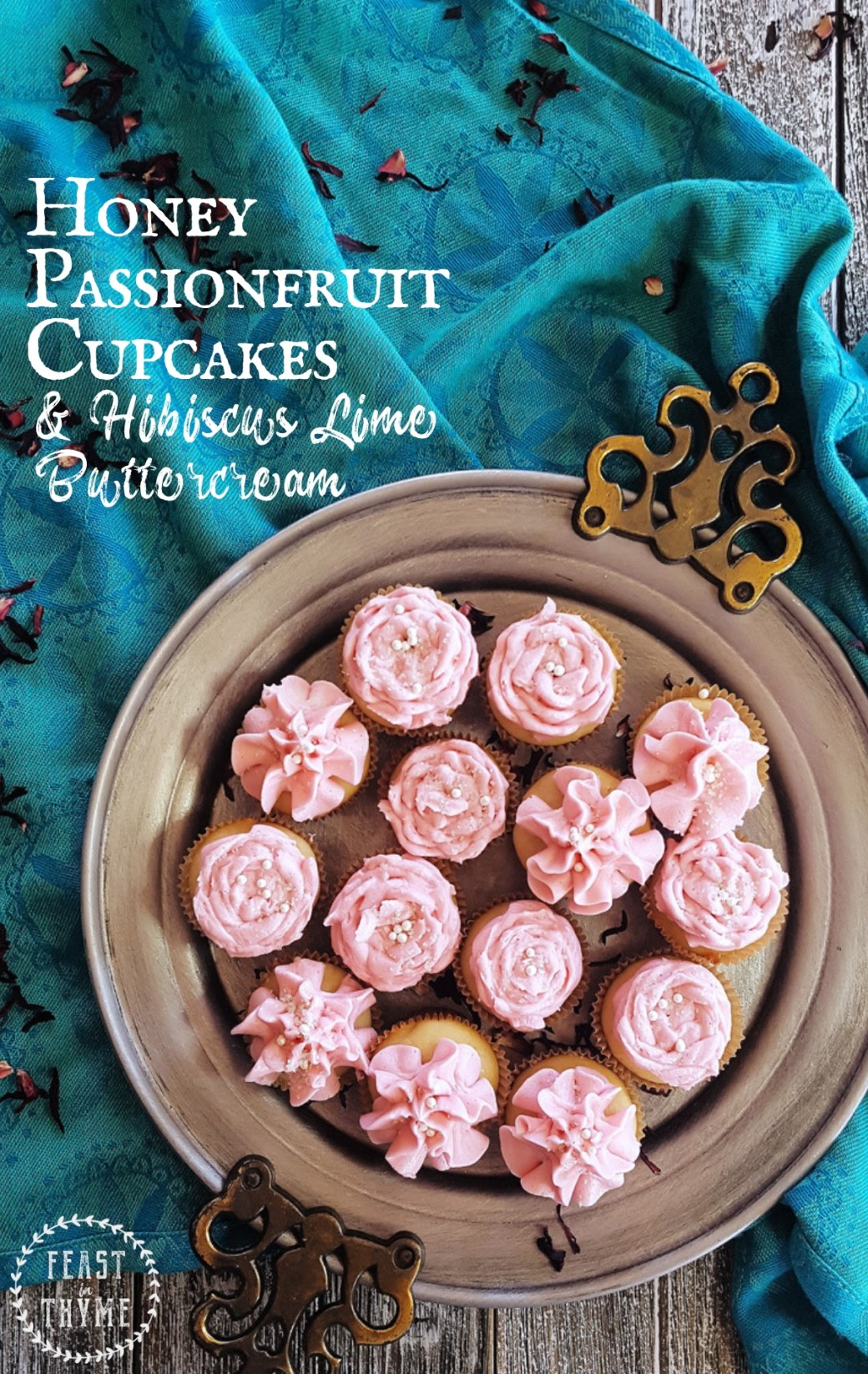 Sweetened with honey and frosted with a luscious hibiscus lime buttercream, the recipe for these tropical passionfruit cupcakes is surprisingly easy! #baking #honey #cupcake #hibiscus #passionfruit | FeastInThyme.com