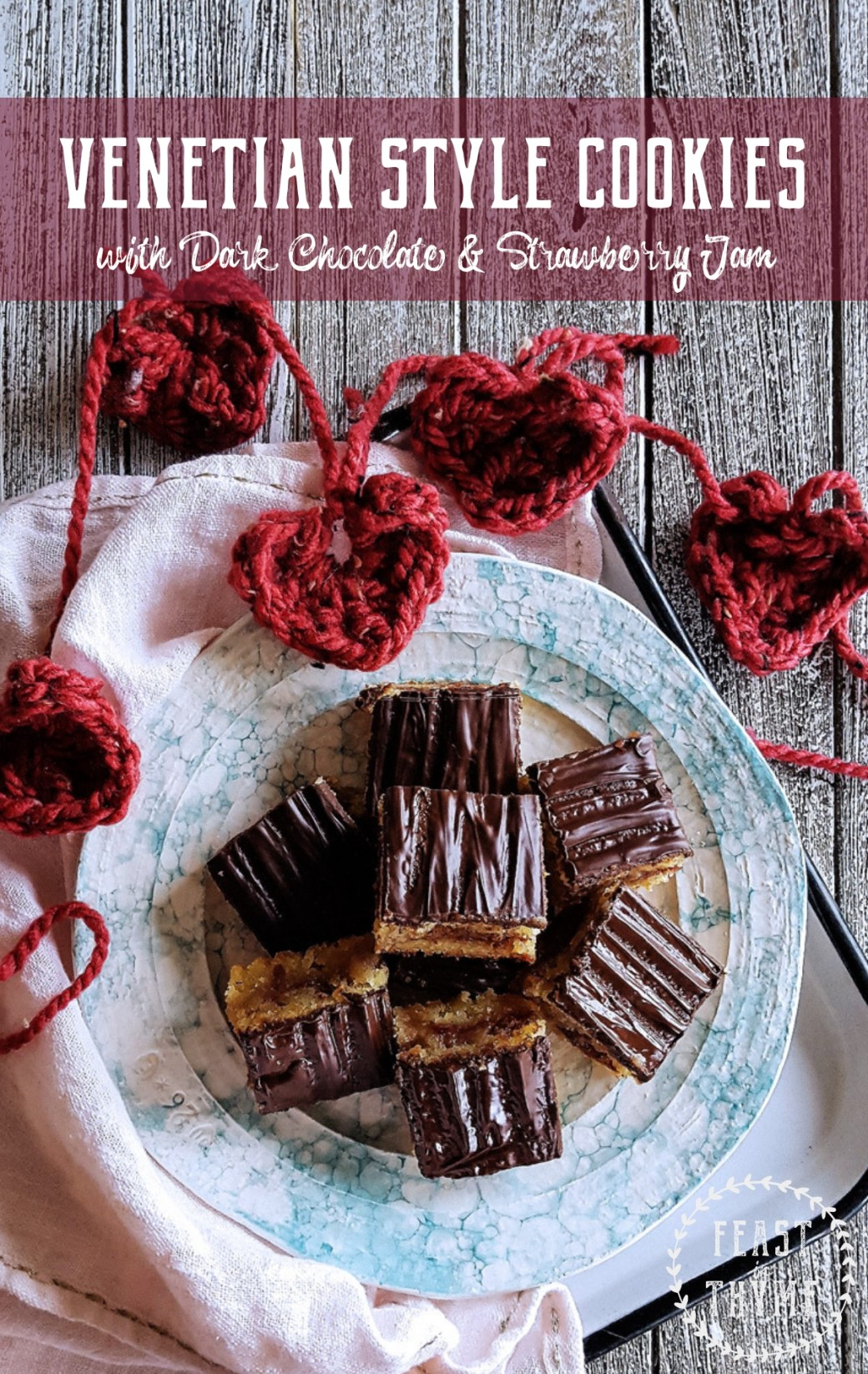 Dark chocolate, strawberry jam, and two layers of almond sponge cake make these Gluten Free Venetian Style Cookies a perfect choice for Valentine's Day! #glutenfree #italian #valentine #cookie | FeastInThyme.com
