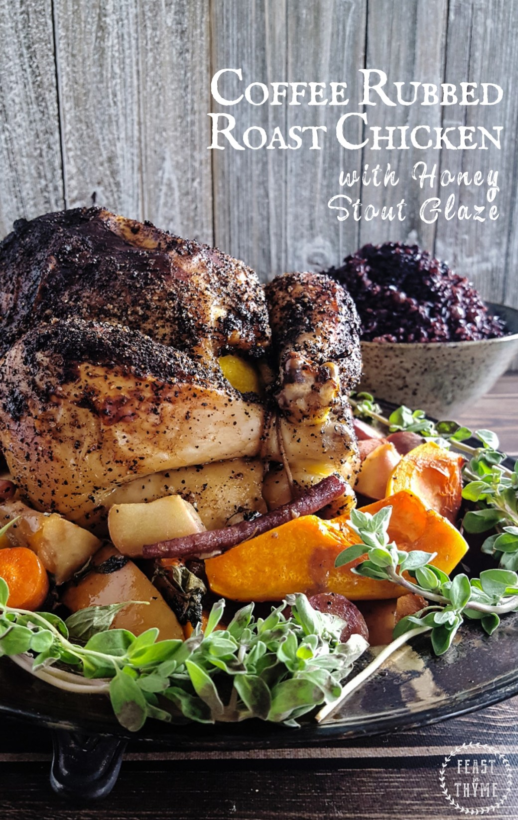 Succulent Coffee Rubbed Roast Chicken is smothered in sweet honey stout glaze and served on a bed of carrots & butternut squash. #fantasyfood #larpfood #roastchicken   FeastInThyme.com