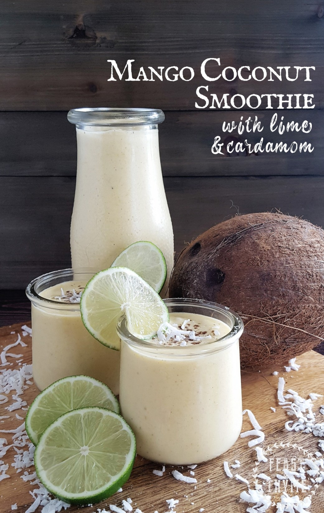 With the brightness of lime juice and a dash of cardamom spice, this creamy mango and coconut smoothie is a cool and refreshing drink on a hot summer day. #fictionalfood #larpfood #mango #coconut #drink | FeastInThyme.com