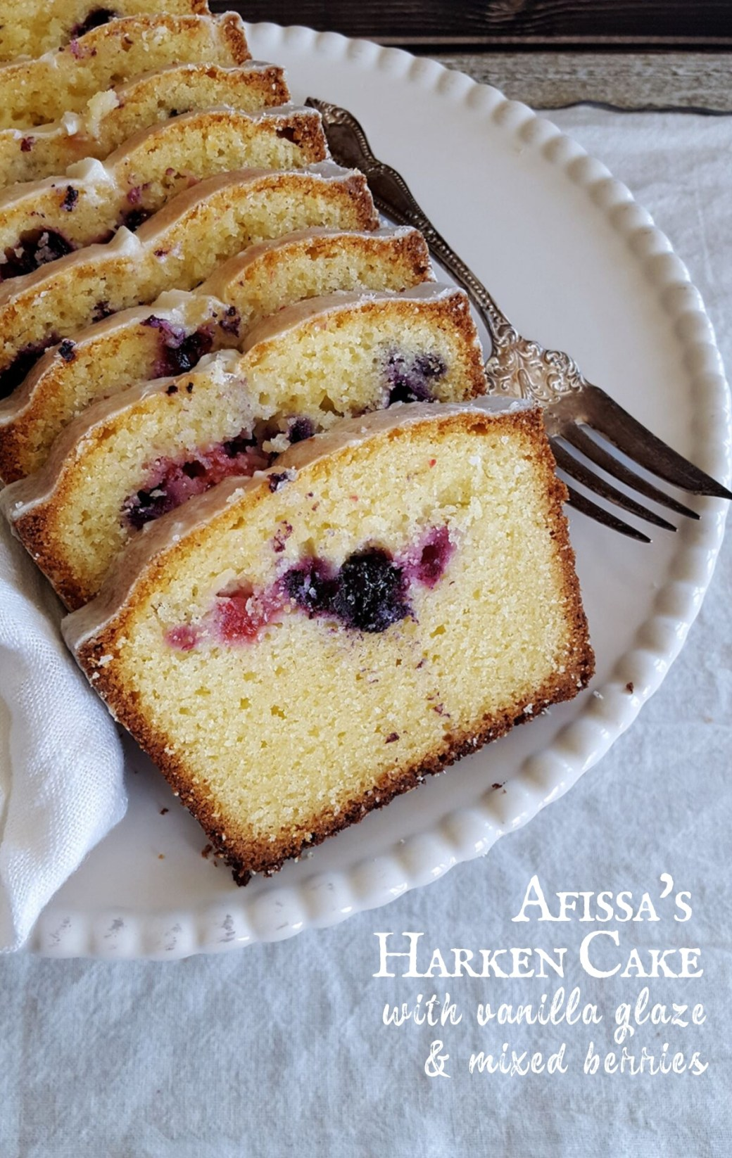 Afissa's Harken Cake with Vanilla Glaze & Mixed Berries