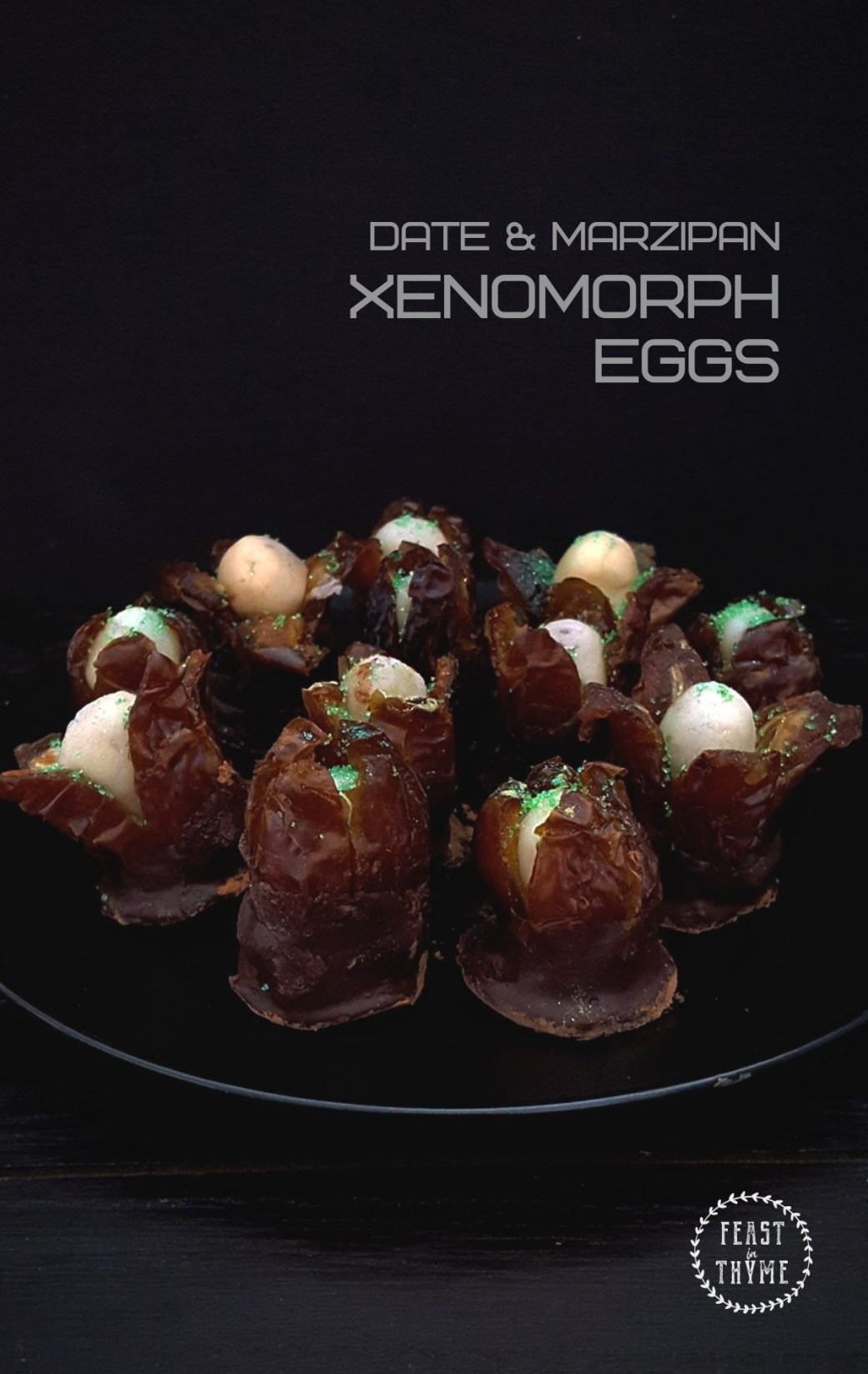 Simple Marzipan Stuffed Dates are given the Hollywood treatment with this terrifying Halloween recipe for Alien  Xenomorph Eggs. #fictionalfood #scifi #xenomorph #halloween | FeastInThyme