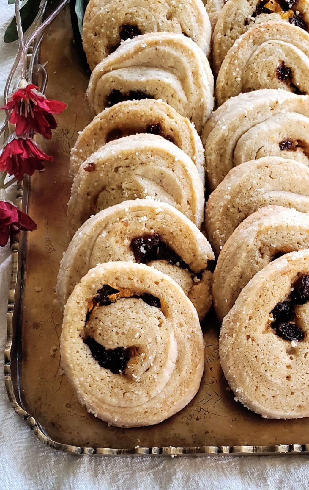 Spiced Raisin Swirl Shortbread Cookies
