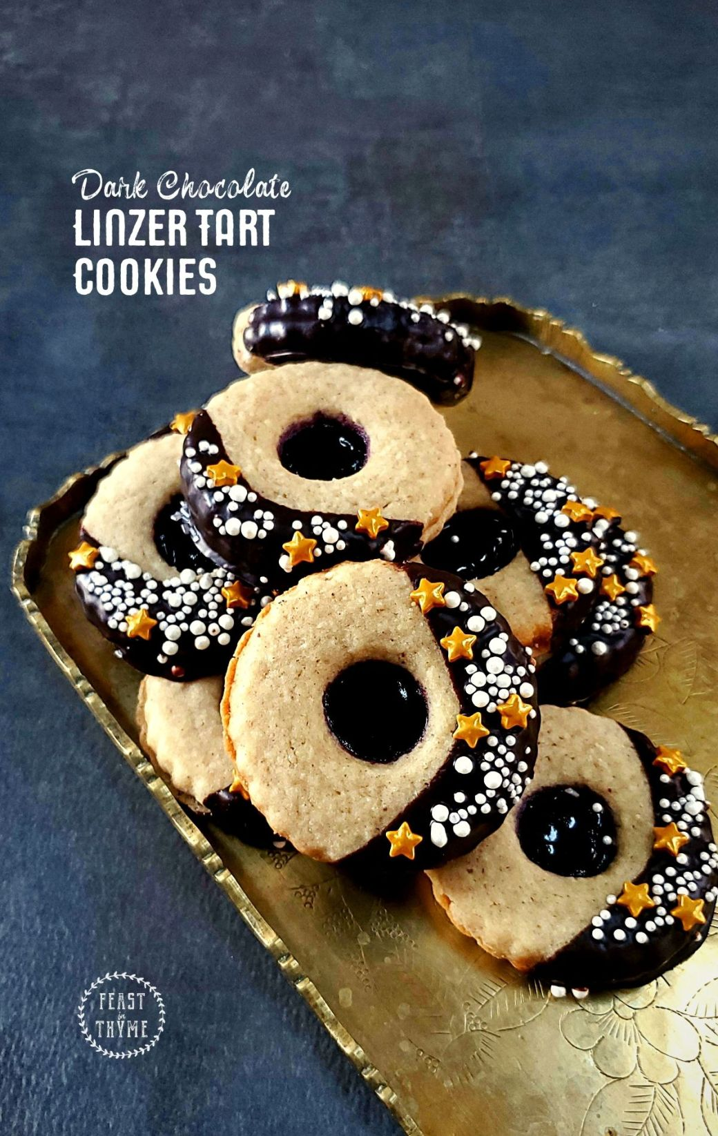 Dark Chocolate Linzer Tarts with Black Raspberry Jam