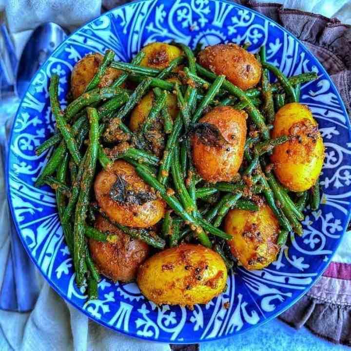 Indian Masala Potatoes and Green Beans Recipe.