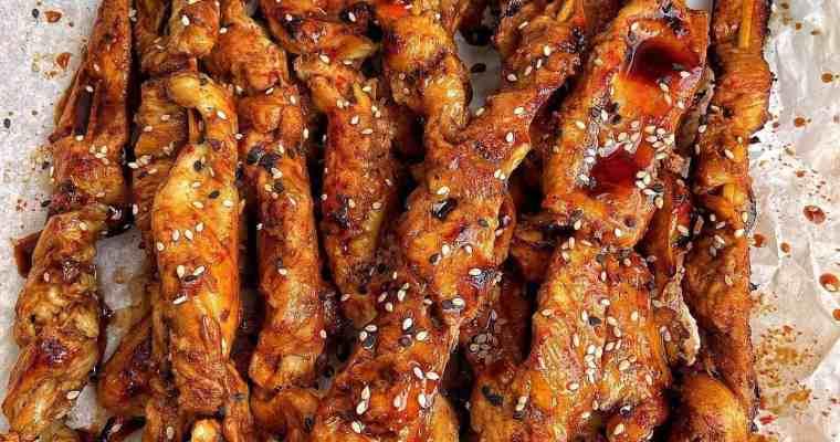 Spicy Korean Chicken on a Stick