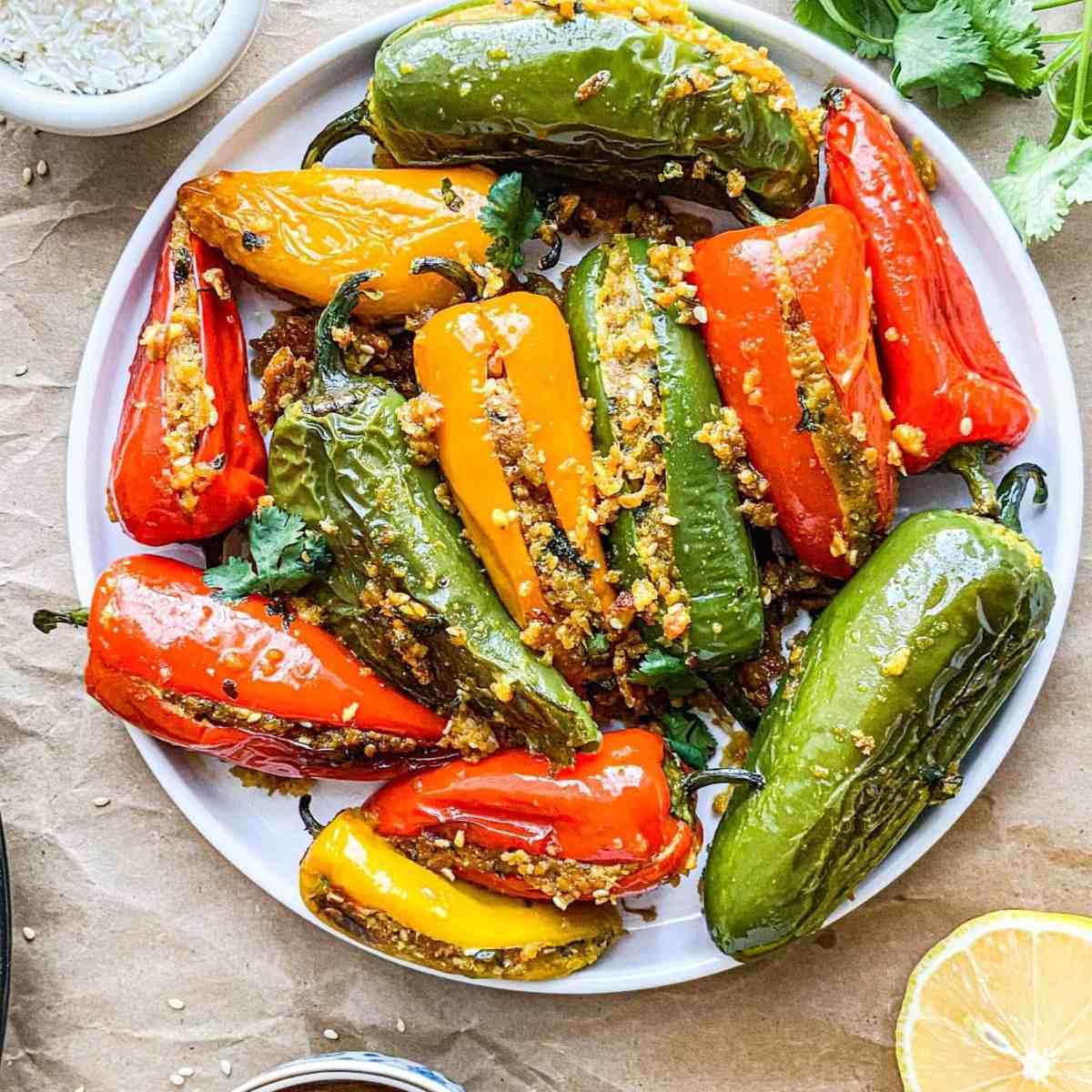 Gluten-free chickpea flour stuffed peppers