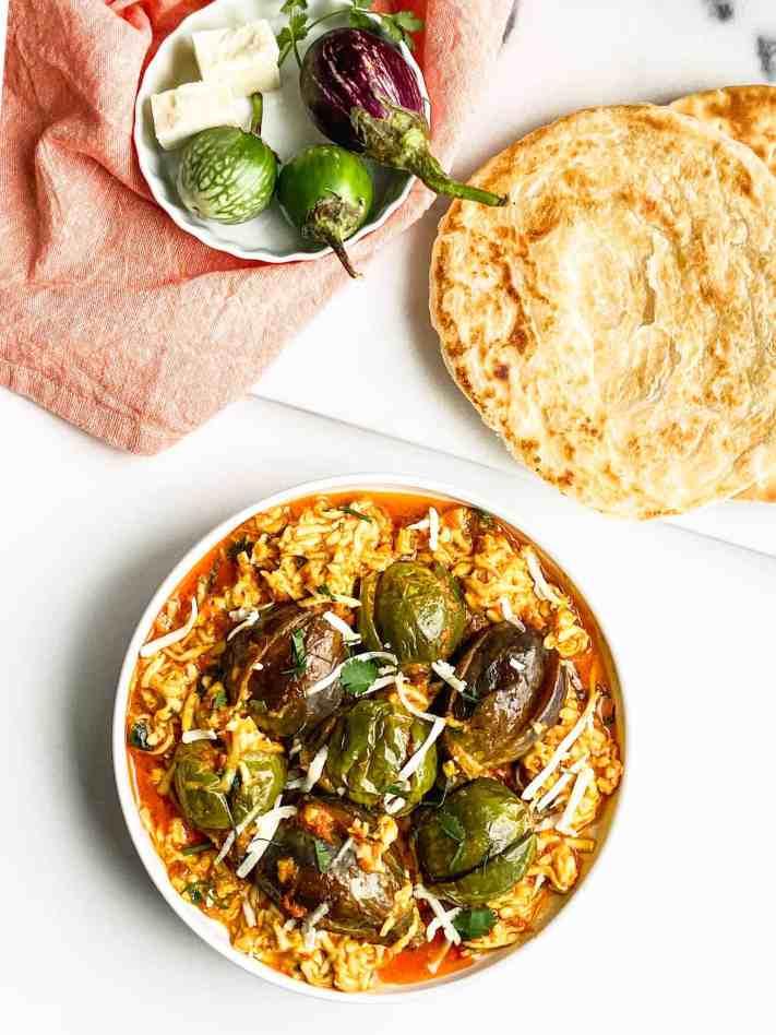 Eggplant Paneer Masala-Baigan Paneer Curry.