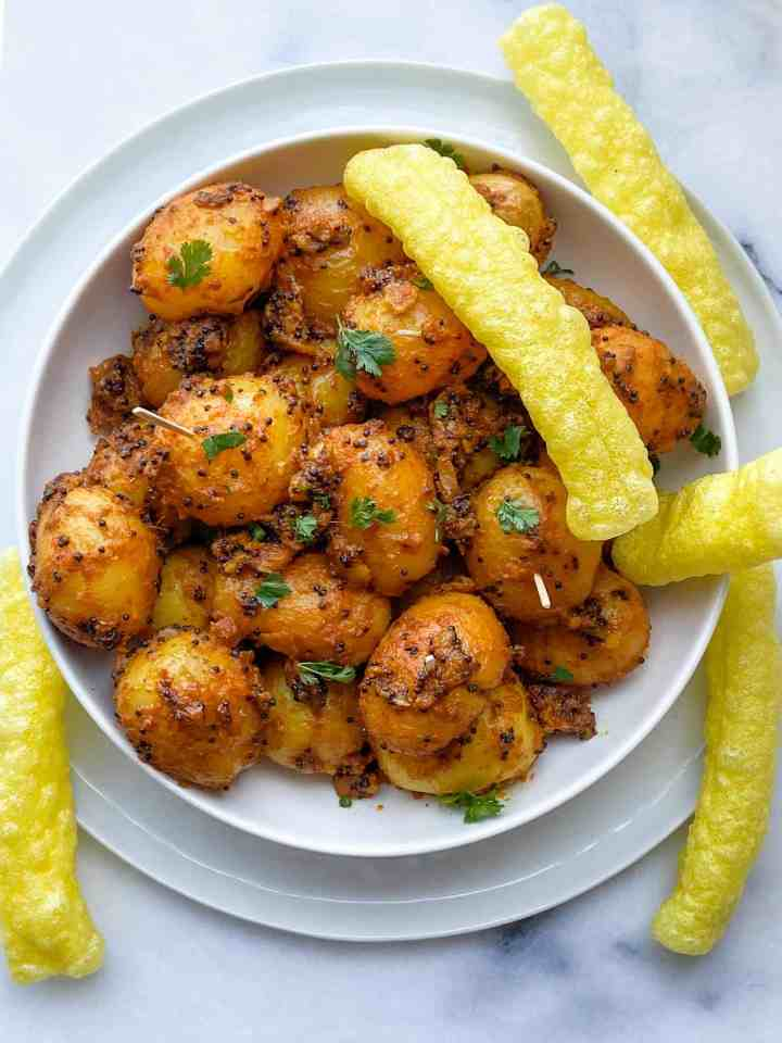 Rai wale Aloo, Masala Potatoes with Indian fryums.