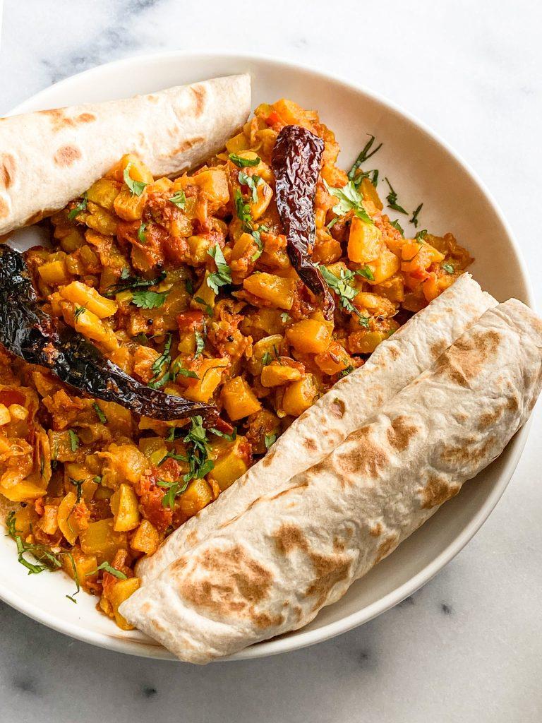 Zucchini-Yellow Squash Stir Fry with Indian flatbread.