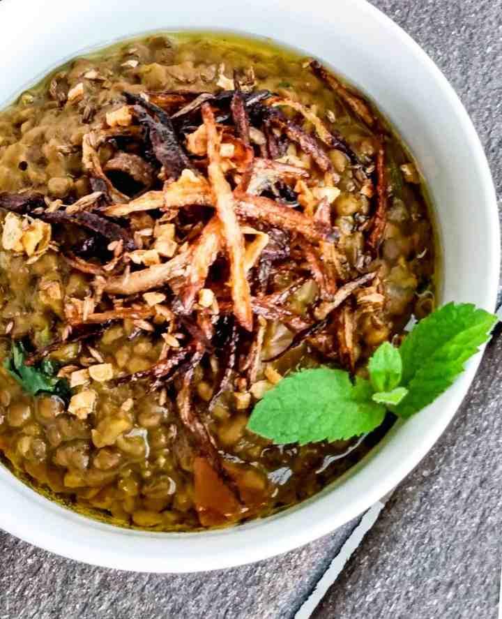 Whole Masoor Daal in an instantpot. Easy lentil recipe.