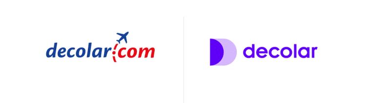 Exemplo mostrando o antes e depois  de um redesign de marca da empresa Decolar.