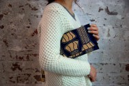F+S Carvings African print clutch