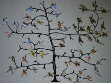 This was a painting I created fro my wife's 50th birthday, that now hangs in her office. It is an evolutionary tree of all known corvids.