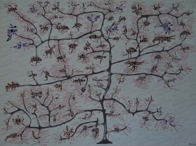 This painting uses the same style to represent animals on a scientifically accurate evolutionary tree. Species names were written in red paint on the branches to look like leaves.