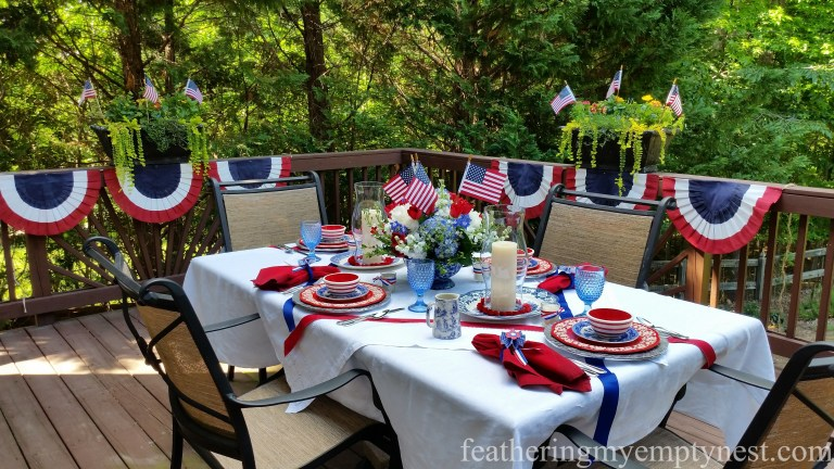 Red, white, and blue Old-Fashioned 4th of July Tablescape