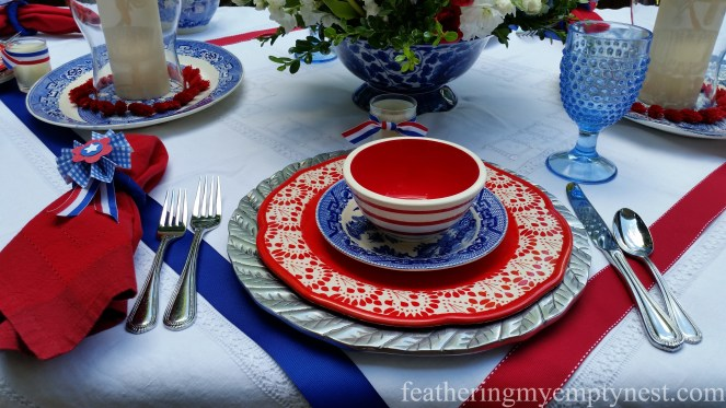 Blue hobnail goblets complete place setting for Old-Fashioned 4th of July Tablescape