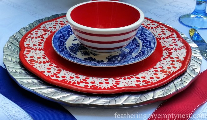 Mix of red, white and blue plates for Old-Fashioned 4th of July Tablescape