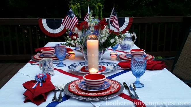 Illuminated Old-Fashioned 4th of July Tablescape