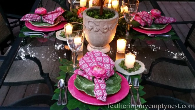 votive candles on Romantic Flower-themed Summer Tablescape
