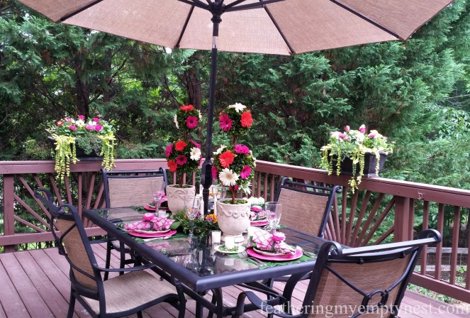 Back deck becomes a flower bower for a Romantic Flower-themed Summer Tablescape