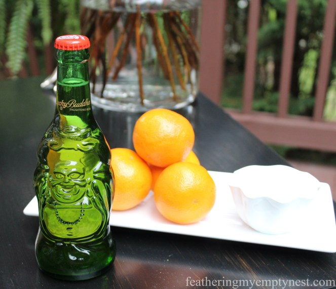 Lucky Buddha Beer is the perfect compliment to Dim Sum On The Deck: A Chinese Takeout Dinner Party--featheringmyemptynest.com