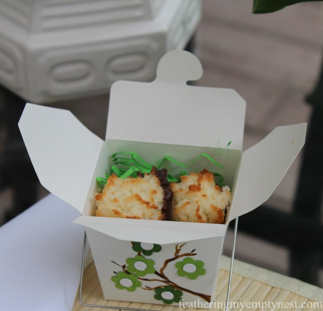 Flower embellished Chinese takeout cartons contain dessert in the form of chocolate dipped macaroons--Dim Sum On The Deck: A Chinese Take-out Dinner Party--featheringmyemptynest.com