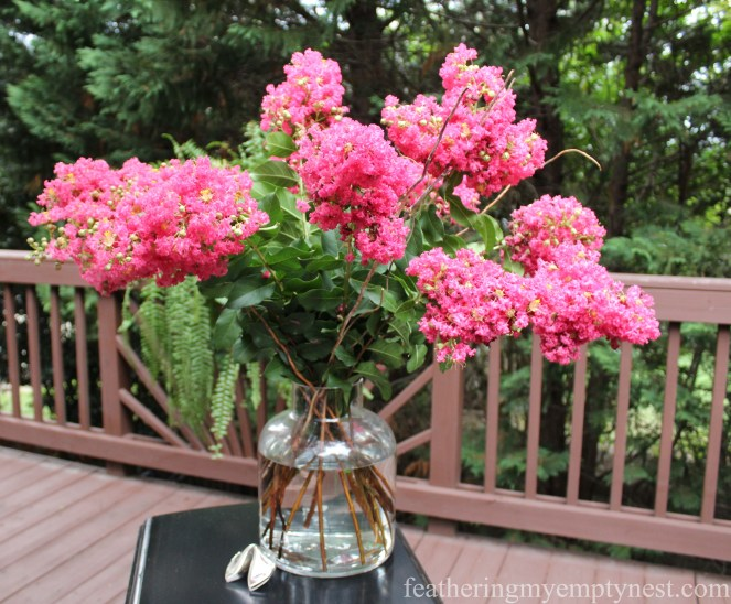 Crepe Myrtle blooms--Dim Sum On The Deck: A Chinese Takeout Dinner Party--featheringmyemptynest.com