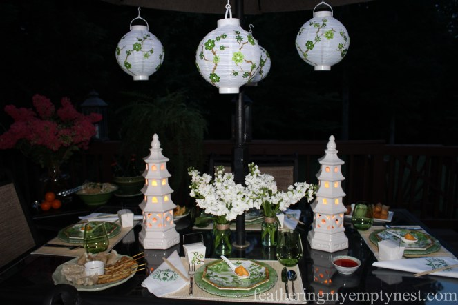 Glowing lanterns illuminate Dim Sum On The Deck: A Chinese Take-out Dinner Party--featheringmyemptynest.com