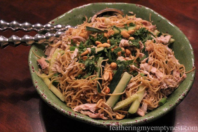 Chinese Noodle Salad With Spicy Peanut Sauce--featheringmyemptynest.com