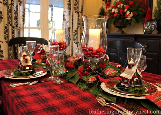 Red plaid tablecloth is the foundation of this Christmas table --Pancakes & Plaid: A Christmas Breakfast Table