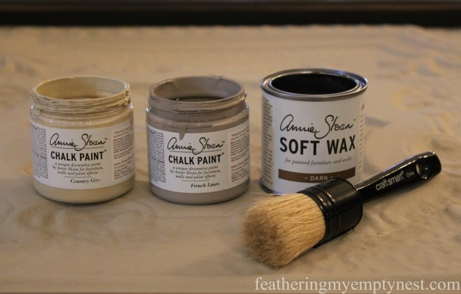 Mini jars of Annie Sloan Chalk Paint in Country Grey and French Linen, Dark Soft Wax, and wax brush --Tips For Using Chalk Paint And Dark Wax