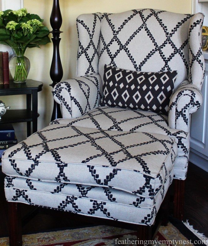 Wing chair upholstered in black diamond lattice fabric from Ballard Designs --Why My Family Room Decor Is Always A Work In Progress
