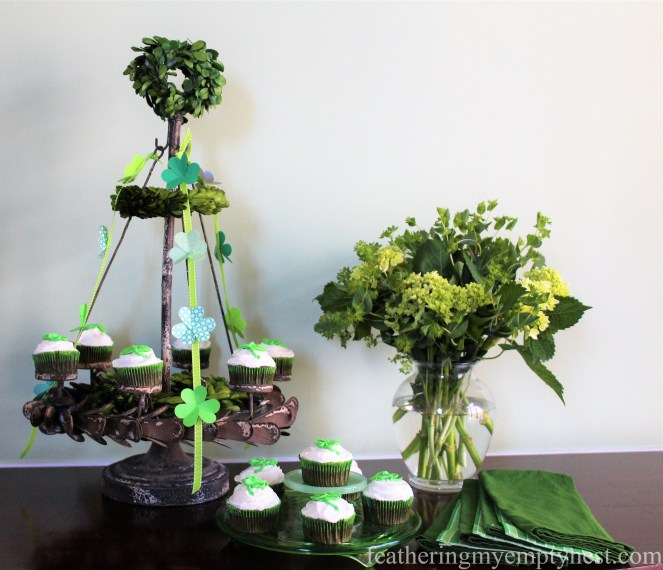 A Festive Display of St. Patrick's Day Irish Cream Shamrock Cupcakes For Your St. Patrick's Day Celebration