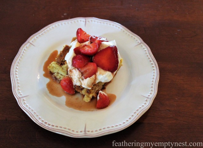 Spring Almond & Orange Bread Pudding With Balsamic Strawberry Sauce