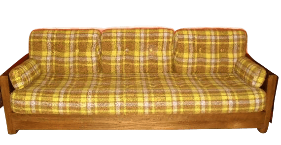 This old yellow plaid sofa is an example of the kind of second-hand furniture to avoid --Inexpensive Apartment Decorating Idea