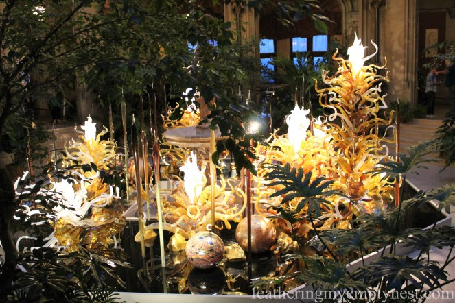 Chihuly sculpture, Laguna Torcello II in the Winter Garden at Biltmore --Chihuly At Night At The Biltmore