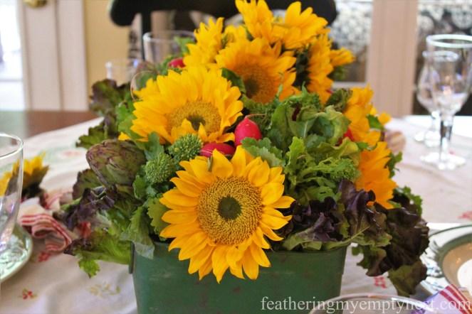 Sunflower and Garden Vegetable Centerpiece --Fall Harvest Tablescape