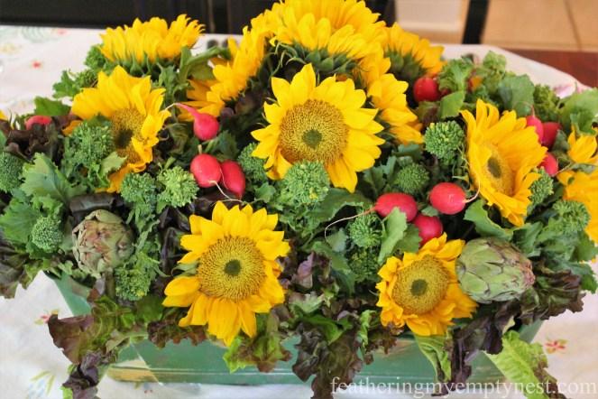Sunflower And Veggie Centerpiece --Fall Harvest Tablescape