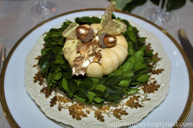 Gold, white, and green table setting --A Nature-Inspired Elegant Thanksgiving Tablescape