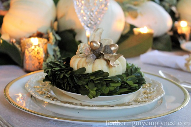 Gold, white, and green place setting --A Nature-Inspired Elegant Thanksgiving Tablescape